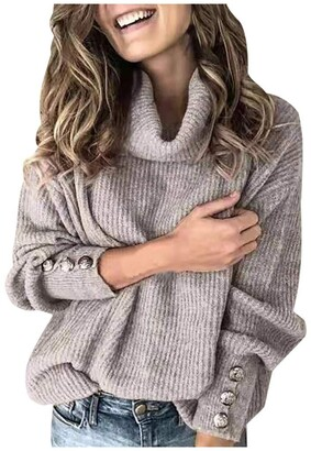 TOPEREUR Women Turtleneck Jumpers Long Sleeve with Button Detail Solid Color Knitted Sweater Soft Slouchy Pullover Top Blouse Gray