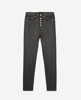 The Kooples Slim buttoned leathery vintage black jeans