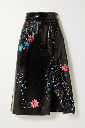 Miu Miu Ruffled Painted Faux Patent-leather Midi Skirt - Black