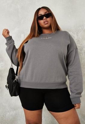 Missguided Size Dark Grey Oversized Sweatshirt