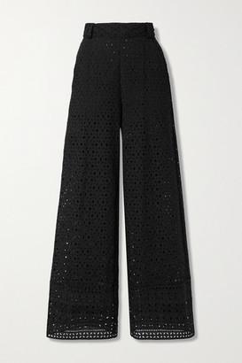 Charo Ruiz Ibiza Brigid Broderie Anglaise Cotton Wide-leg Pants - Black