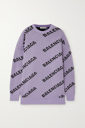 Balenciaga Intarsia Wool-blend Sweater - Lilac