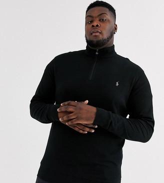Polo Ralph Lauren Ralph Lauren Big & Tall player logo half zip double knit jersey sweatshirt in polo black