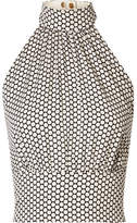 Diane von Furstenberg Polka-dot Stretch-silk Crepe Halterneck Top - Off-white