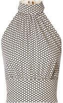Diane von Furstenberg Polka-dot Stretch-silk Crepe Halterneck Top - Off-white