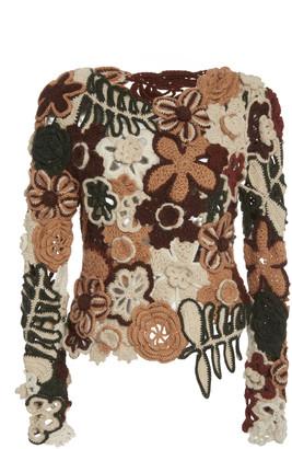 Ulla Johnson Isolina Crochet-Knit Alpaca Top
