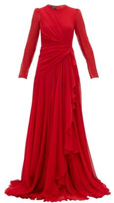 Giambattista Valli Draped Silk-georgette Gown - Womens - Red