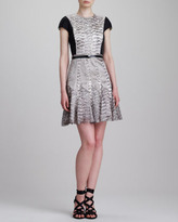 Jason Wu Cap-Sleeve Snake-Print Combo Dress