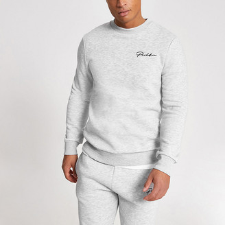 River Island Prolific grey muscle fit sweatshirt