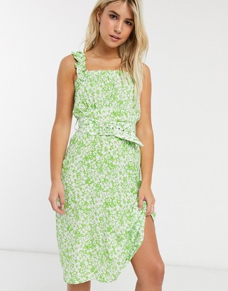 Faithfull The Brand Faithfull mae freya floral sleeveless midi dress with belt-Green