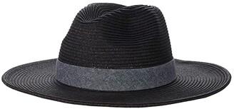 San Diego Hat Company UBM4457 Panama Fedora Hat with Chambray Band (Black) Fedora Hats