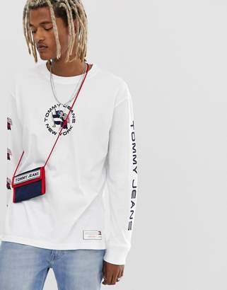 Tommy Jeans Summer Heritage Capsule long sleeve top in white with back and sleeve print