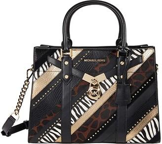 MICHAEL Michael Kors Nouveau Hamilton Large Satchel (Black Multi) Handbags