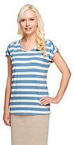 As Is Denim & Co. Perfect Jersey Extended Sleeve Striped Knit Top