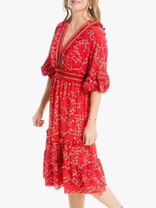 Max Studio Puff Sleeve Floral Print Dress, Red
