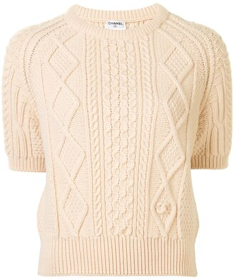 Chanel Pre Owned 1996 Cable-Knit Wool Jumper