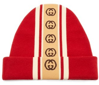 Gucci GG-jacquard Wool-blend Beanie - Mens - Red