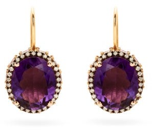 Ileana Makri Daisy Eternity Amethyst & 18kt Rose Gold Earrings - Purple