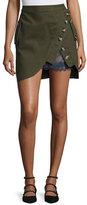 Self-Portrait Utility Miniskirt with Lace Insert, Khaki