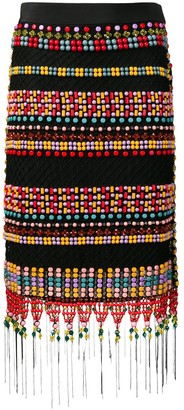Emilio Pucci Beaded Fringed Macrame Skirt