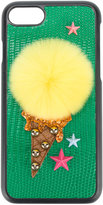 Dolce & Gabbana Pom Pom iPhone 7 cover - women - Calf Leather/Rabbit Fur/Plastic/Viscose - One Size