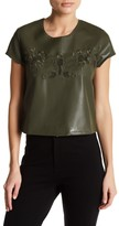 Romeo & Juliet Couture Embroidered Faux Leather Tee