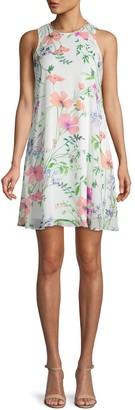 Calvin Klein Floral-Print Chiffon Mini Dress