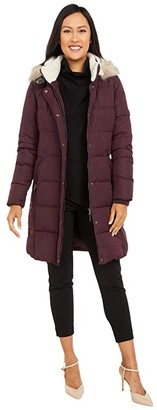 Lauren Ralph Lauren Heavy Down Berber Puffer Coat (Cranberry) Women's Clothing