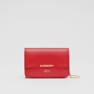 Burberry Two-tone Leather Card Case with Chain Strap
