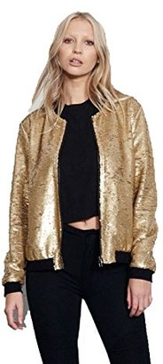 GirlzWalk Womens Ladies Glitter Sequin Bomber Top Biker Festival Clubbing Party Club Jacket (Green SM 8-10)