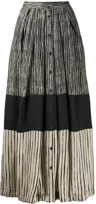 Masnada Contrast Panel Striped Skirt