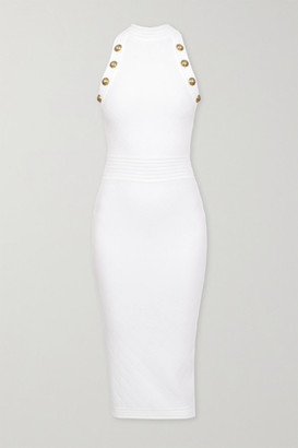 Balmain Button-embellished Pointelle-knit Midi Dress - White