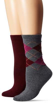 Hue Women's Soft Crew Boot Socks 2 Pair Pack Assorted