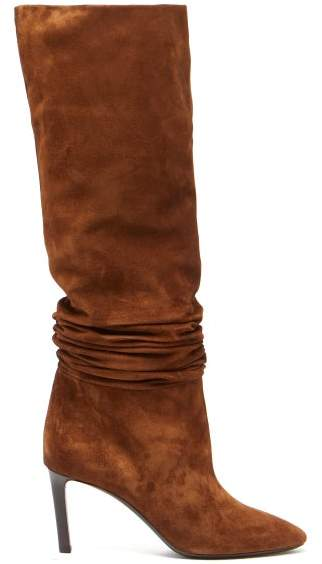 Saint Laurent Mica Slouched Suede Boots - Womens - Tan