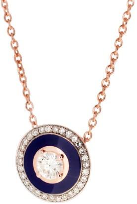 Selim Mouzannar Navy Blue Enamel and Diamond Pave Rose Gold Necklace