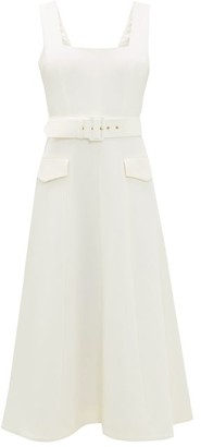 Emilia Wickstead Petra Belted Wool-crepe Midi Dress - Ivory