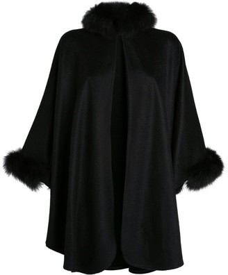 Max Mara Cashmere Fox Fur-Trim Cape