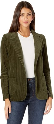 Majestic Filatures Corduroy One-Button Two-Pocket Blazer (Dark Kaki) Women's Clothing