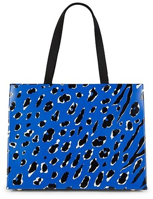 Valentino Animal-Print Leather Tote