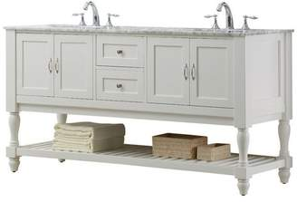 """Direct Vanity Sink Mission Turnleg 70"""" White Double Vanity, Top: Carrara Marble, Without"""