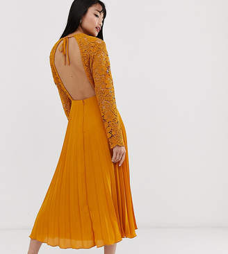 Asos DESIGN Petite long sleeve lace bodice midi dress with pleat skirt-Yellow