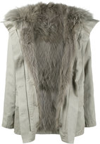 Yves Salomon raccoon fur lined coat