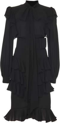 Michael Kors Ruffled Silk-Georgette Tie-Neck Midi Dress