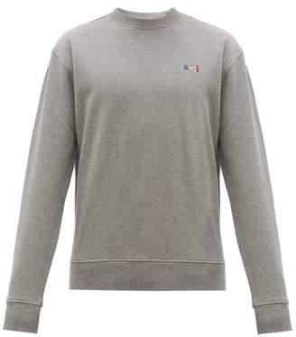 Ami Tricolour Logo Embroidered Cotton Sweatshirt - Mens - Grey