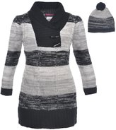 """Dollhouse Little Girls' Toddler """"Shawl Contrast"""" Sweater Dress with Hat"""