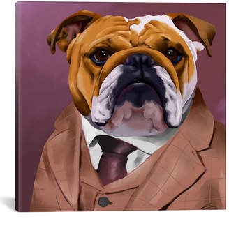 icanvasart Icanvasart English Bulldog Dressed For A Night Out By Brian Rubenacker Canvas Art