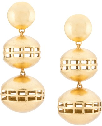 Josie Natori Double Cage clip-on earrings