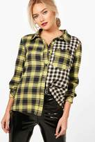 boohoo Emery Gingham & Check Asymetric Shirt