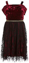 Xtraordinary Big Girls 7-16 Velvet Cold-Shoulder Fit-And-Flare Dress