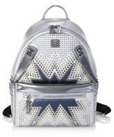 MCM Dual Stark Cyber Studs Metallic Leather Mini Backpack